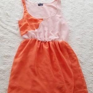 Sleeveless summer dress peach pink coral size XS